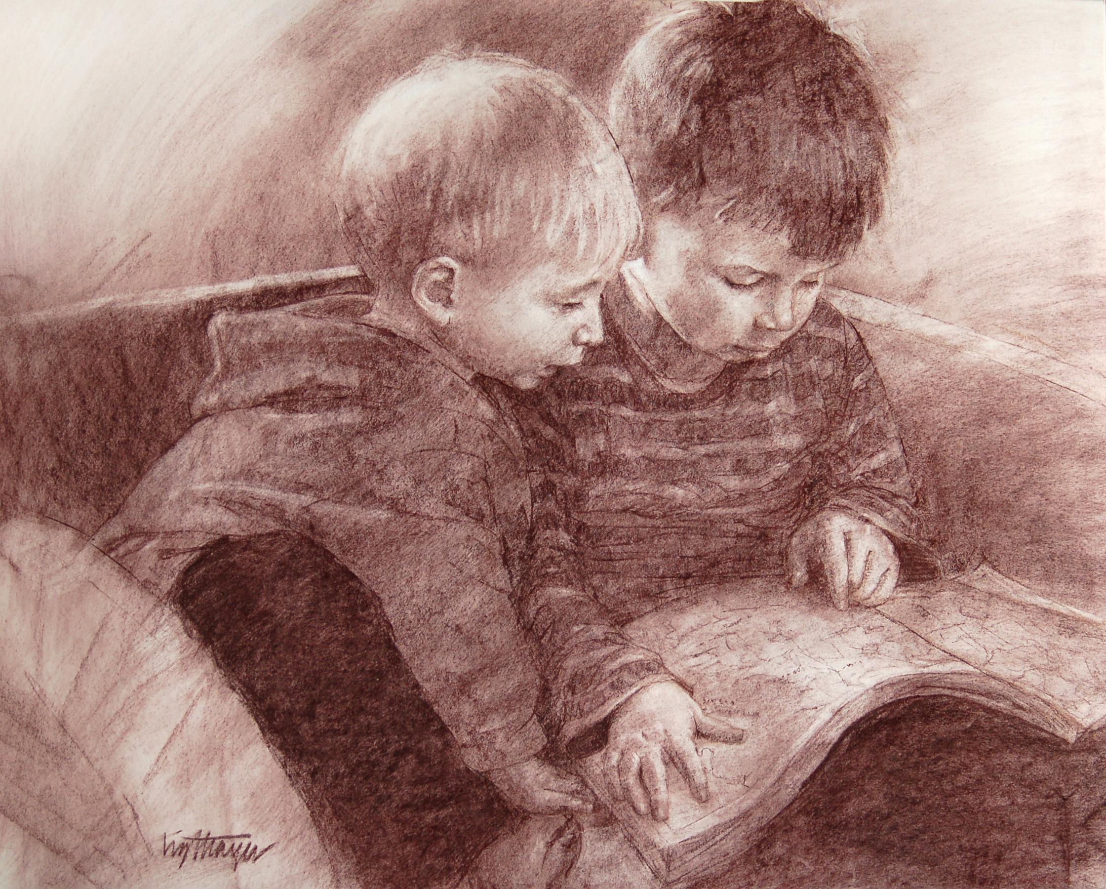 "Reading Time   18x24""   nupastel"