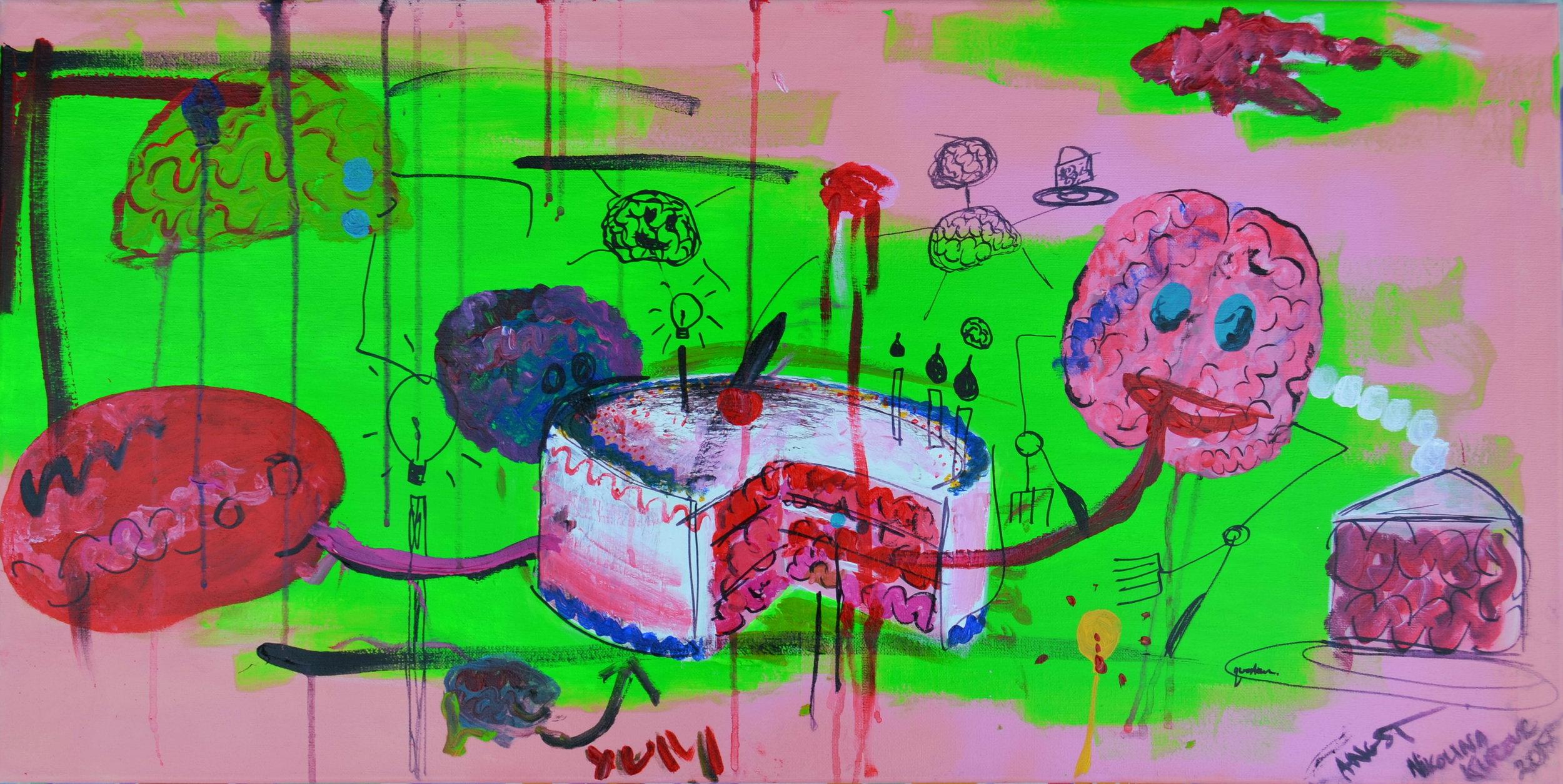 """HEADACHE, EAT ME""  Brains eating braincake... eat yours.  36"" x 18"" Acrylic on Canvas"