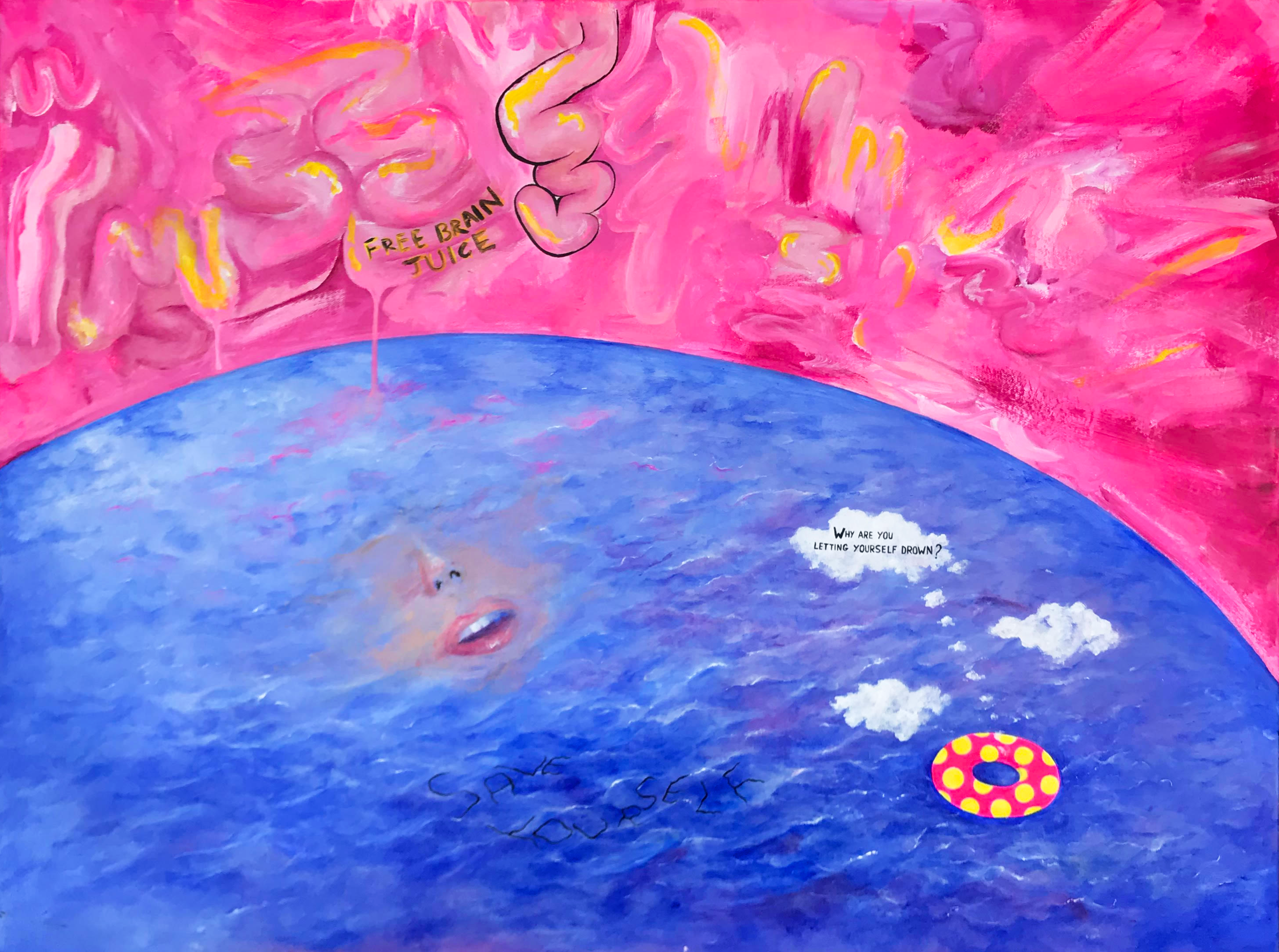 """""""DROWNING""""  30"""" x 40"""" Acrylic on Canvas  Why am I letting myself drown inside a place that could be so beautiful?"""