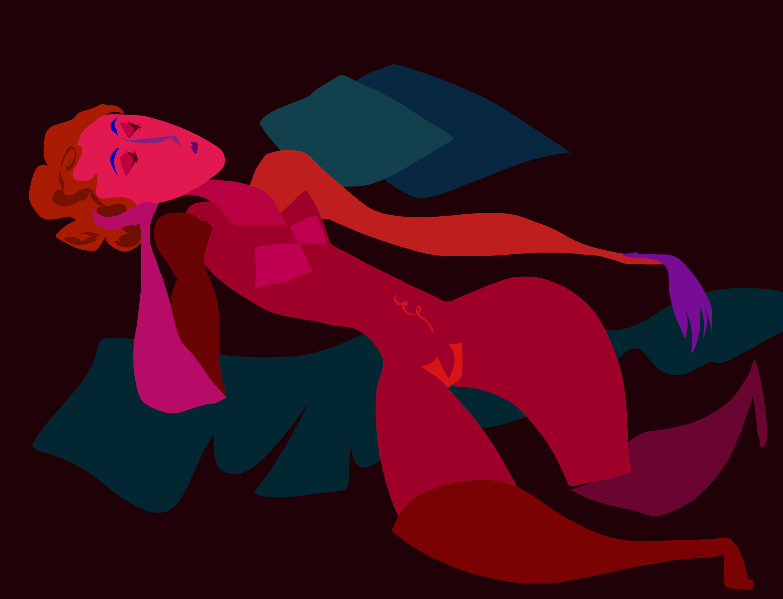 Red Nude Reclining - 2019 - digital