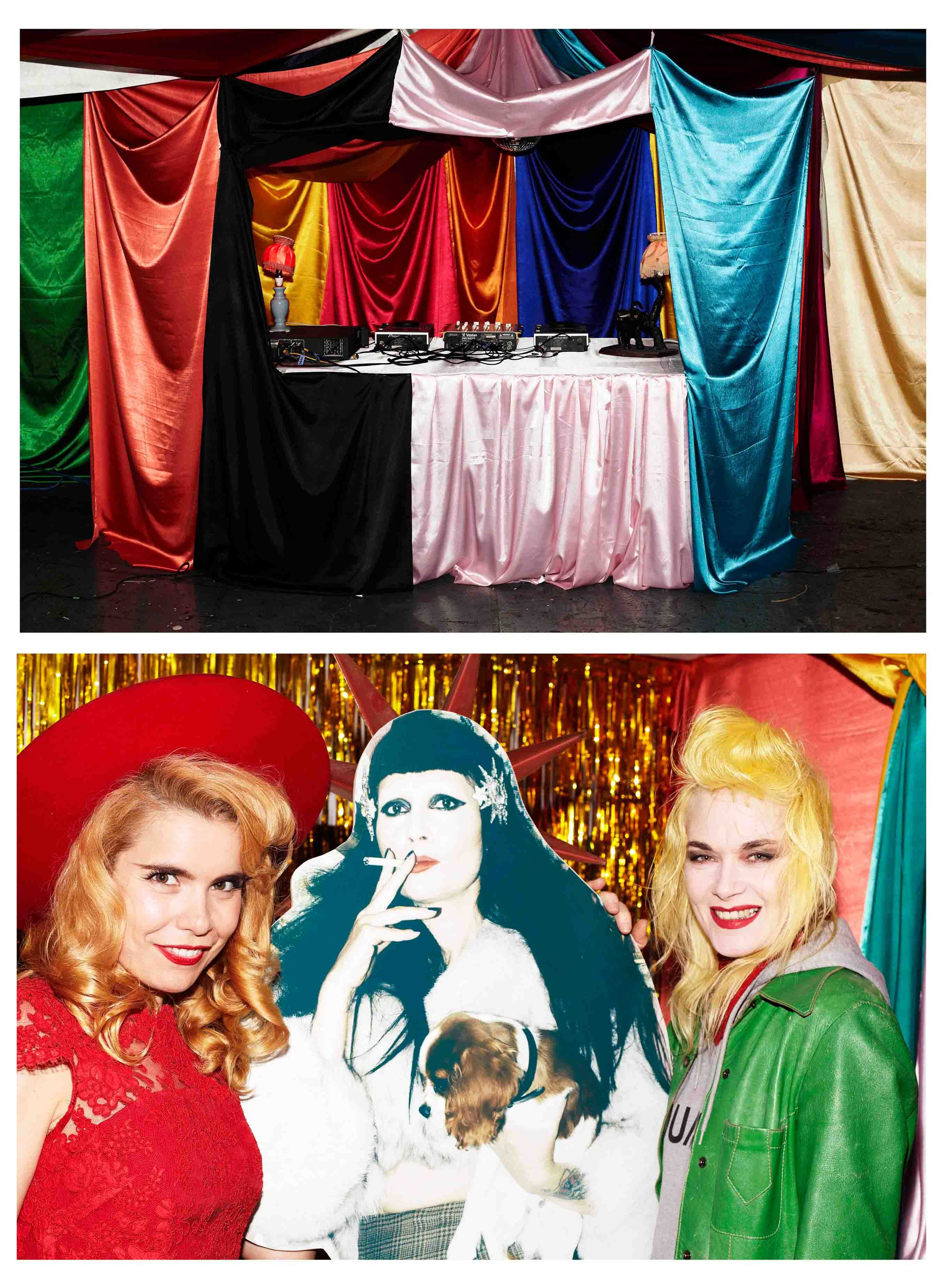 Launch Event  C and B Gallery was transformed into the inside of a circus tent, this is the DJ booth, DJs included Designer James Long and writer Harriet Verney; Singer Paloma Faith and Designer Pam Hogg