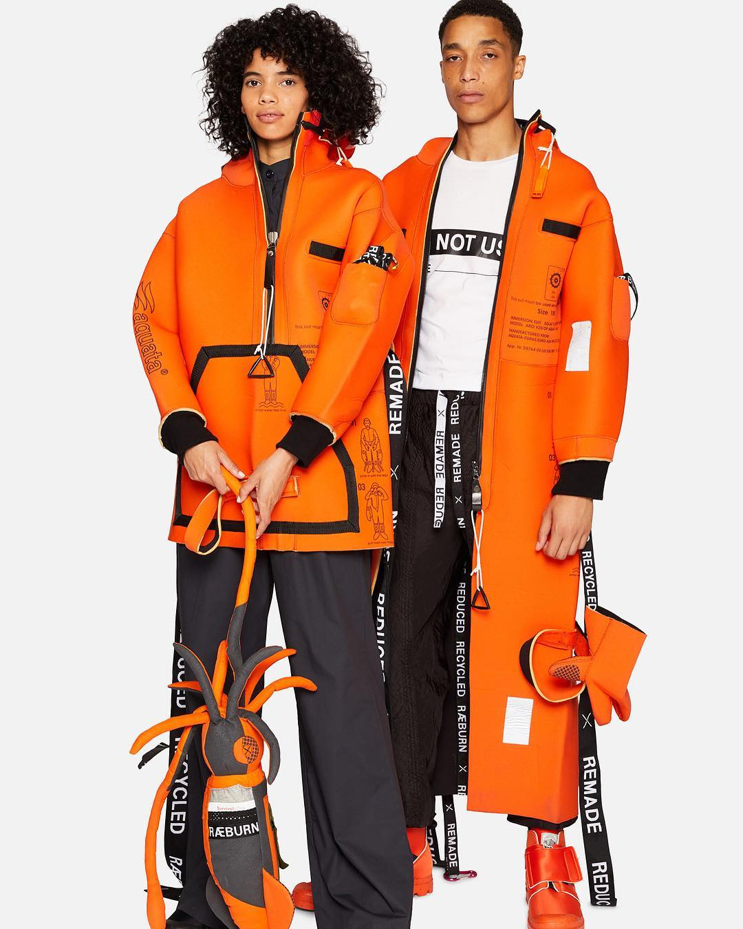 AW18 IMMERSE  collection. Immersion suits with functional elements to prepare wearer for unpredictable sea conditions.