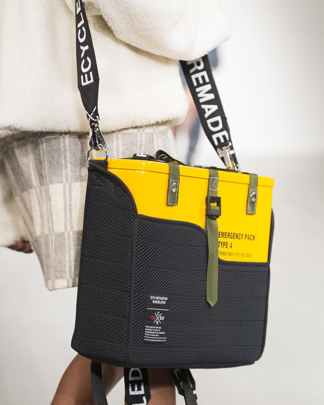 Safety Pack.  Nikeisha Nelson  and Royal College of Art collaboration. REMADE from an original RAF helicopter emergency pack.