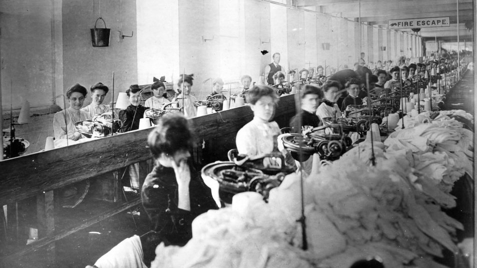 Similar to today, most garment workers in the Triangle Shirtwaist factory were young, immigrant women.  (HBO/NPR)