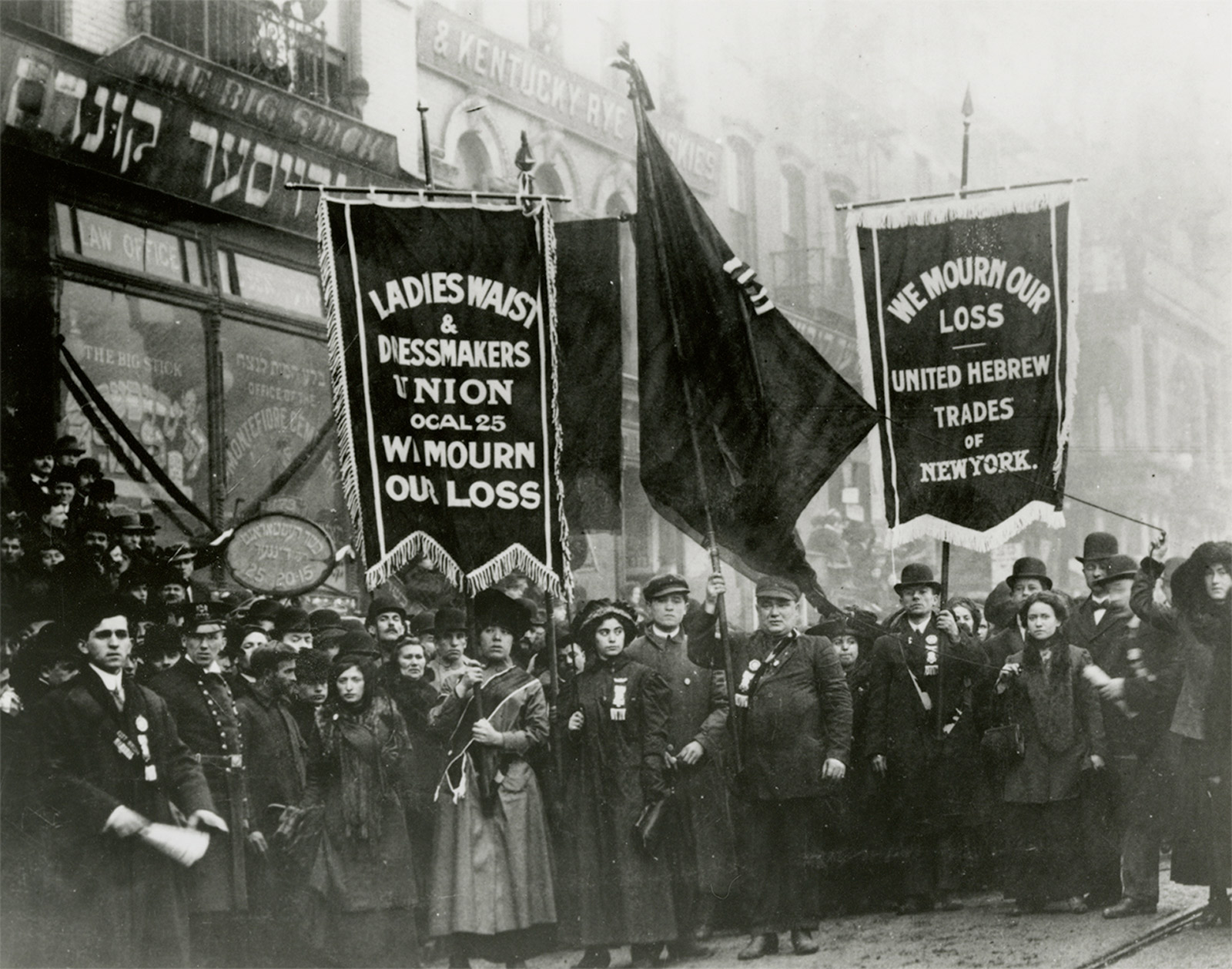 New York City men and women involved in the International Ladies' Garment Workers' Union protest and mourn after the fire, April 5, 1911. (Kheel Center/   New York Books   )