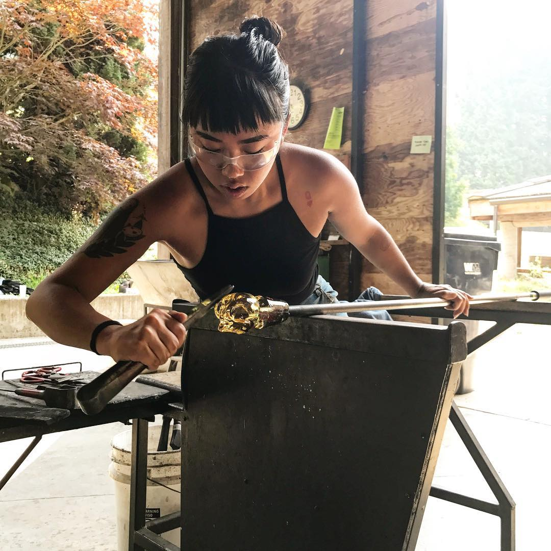 Monyee at  Pulchuck Glass School  in Washington where she found her love for sculpture and her journey of healing began.   (Monyee)