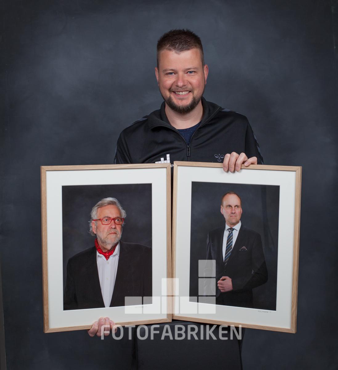 Kjell hade ära att få ta de officiella porträtten på Raseborgs stads tidigare stadsdirektörer.