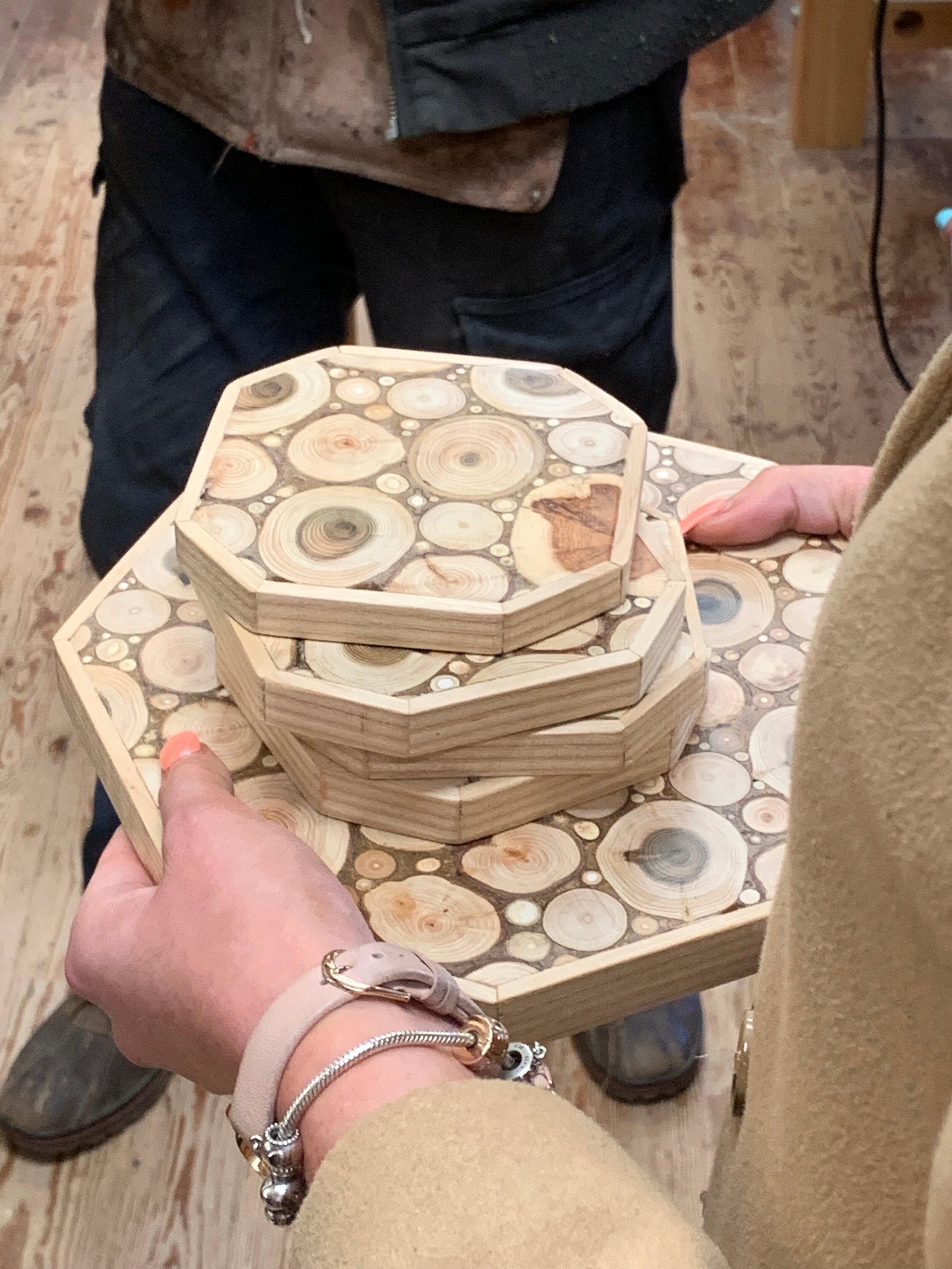 Wood crafts made in the workshop.