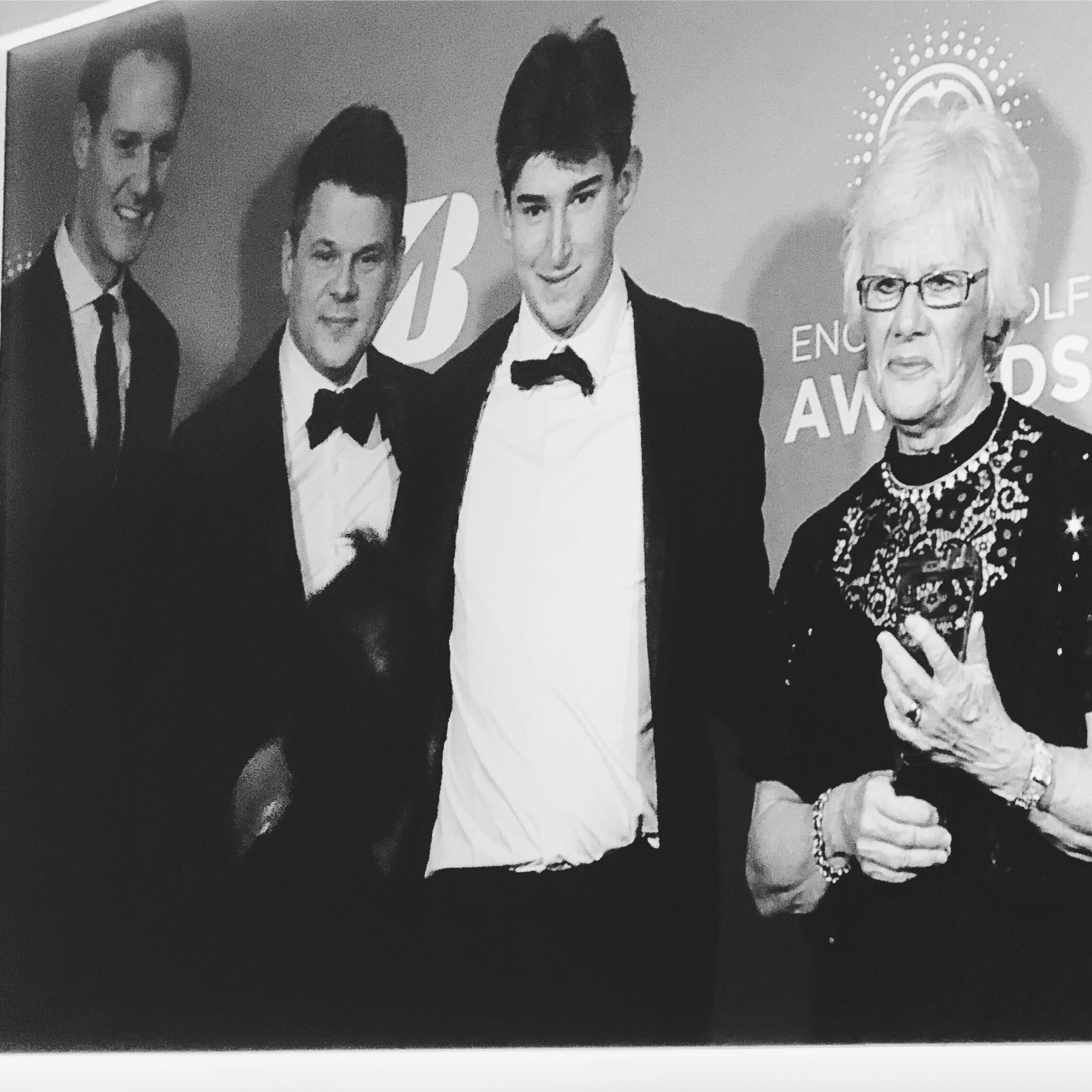 Volunteer of the Year, Jean Hooper (far right). Group photo with Dan Walker, Morten Bisgaard and more.
