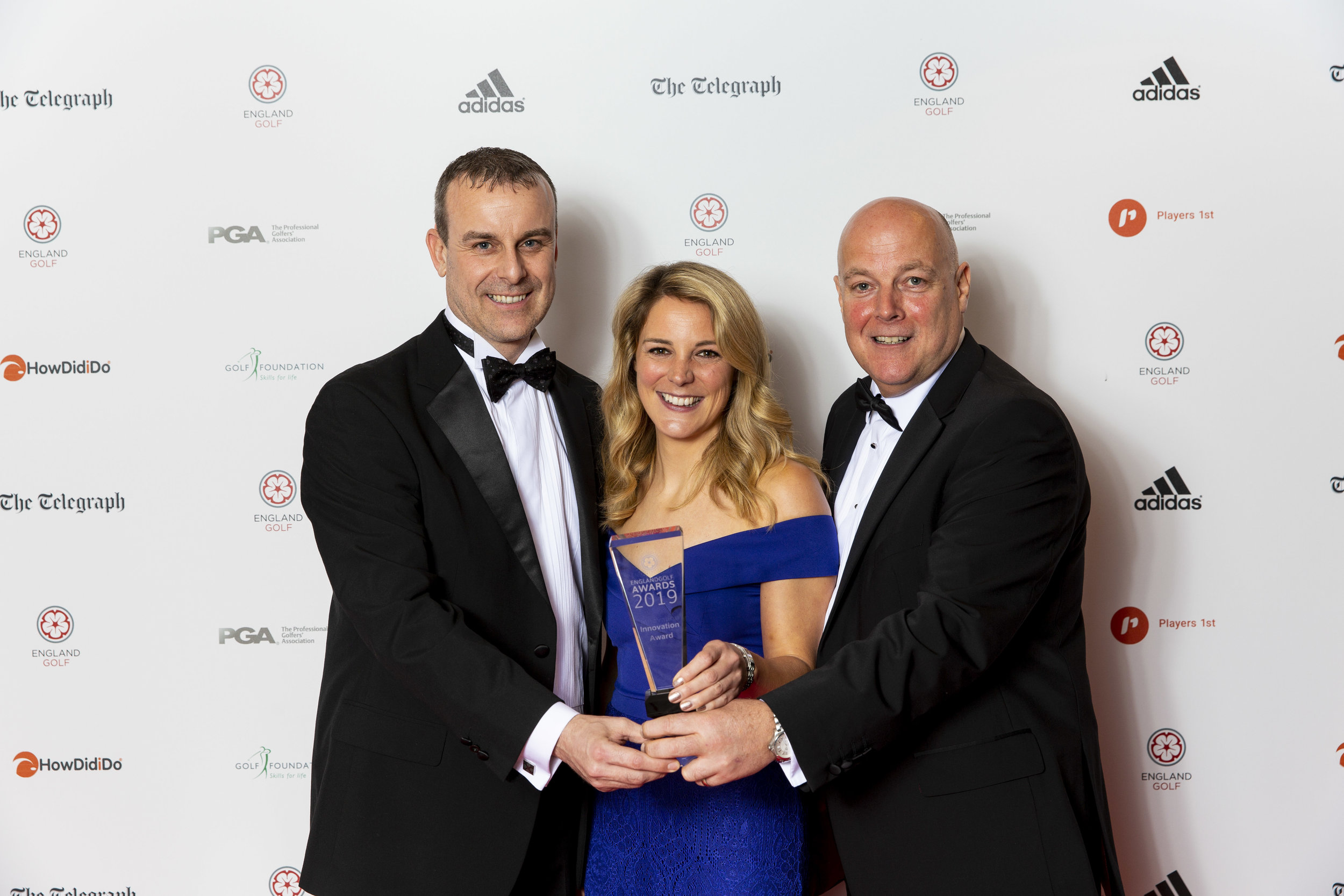 Innovation Award, Mytime Active's Scott Bartlett and Jason Stanton with Amelia Lewis