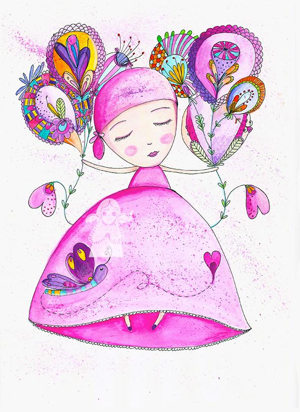 Pink Lady, original watercolor illustration by Dominika Bozic
