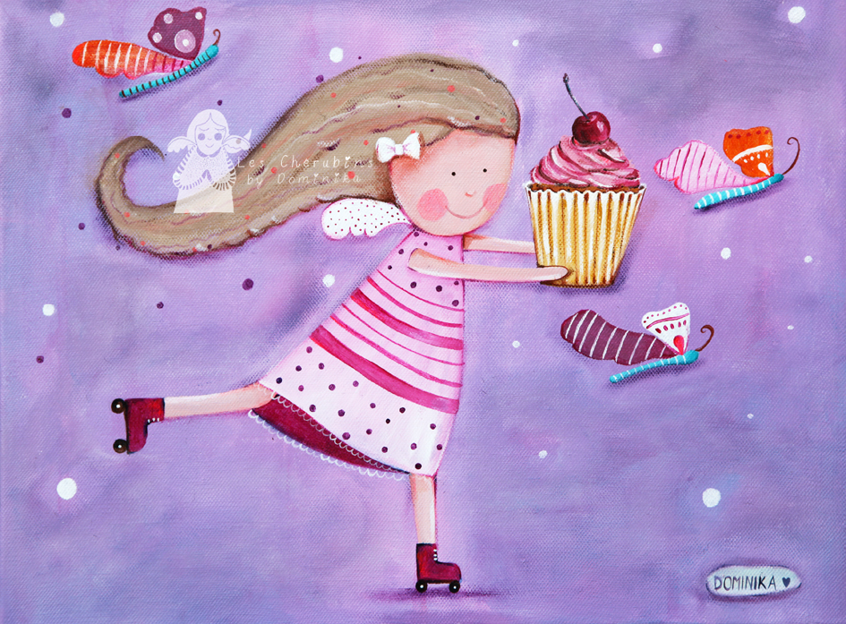 Angel with a cupcake, detail acrylic on canvas, 30x40cm by Dominika Bozic