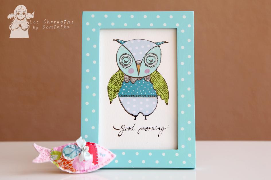 Good morning blue owl collage/illustration by Dominika Bozic