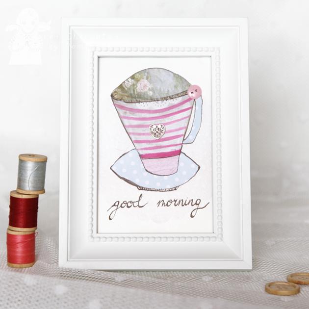 Good Morning Stripes 10x15cm collage/illustration by Dominika Bozic