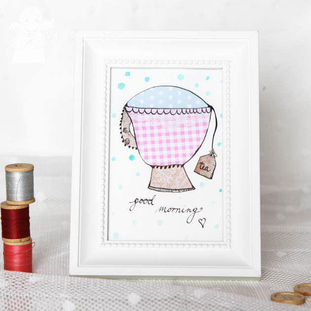 Good Morning Tea 10x15cm collage/illustration by Dominika Bozic