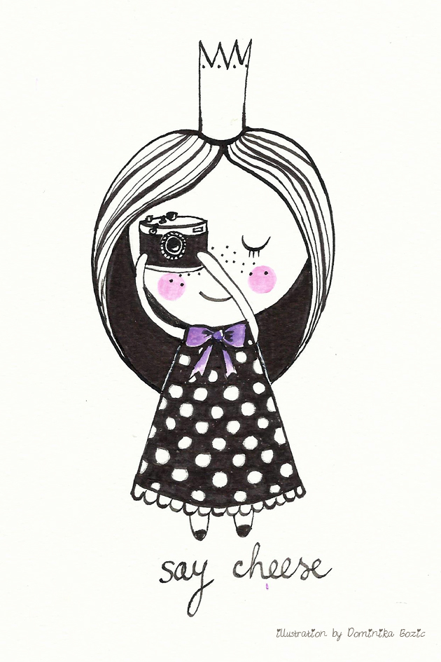 Illustration using black ink and watercolors by Dominika Bozic SAY CHEESE