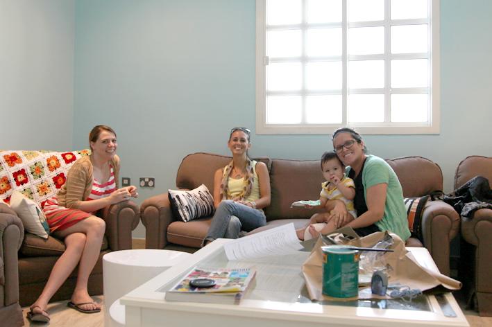 Mel, me, Gabi and baby Bubu in the cozy room