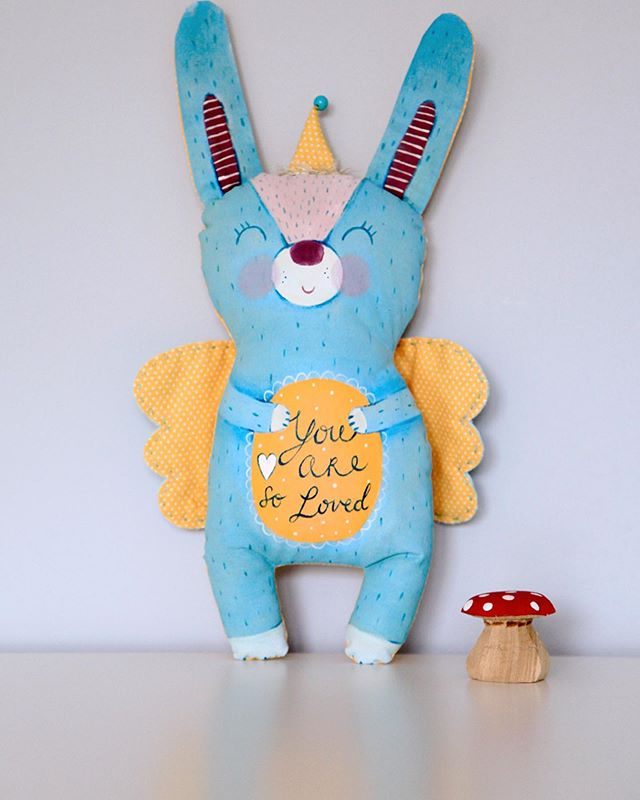 "Handpainted bunny angel ""𝒴𝑜𝓊 𝒶𝓇𝑒 𝓈𝑜 𝓁𝑜𝓋𝑒𝒹""  #babyboygift  #madewithlove #newborngift #christeninggift #lescherubinsart #lescherubins #dominikabozic #handpainted #handpaintedtoy #handpaintedsign #handpaintedtoys #handpainteddesign #bunny #bunnytoy #bunnyplushie #bunnydesign #bunnydecor #bunnydecoration #kidsroomdecor #nurserydecor #nurserydesign #nurseryinspo #kidsroomdecoration"