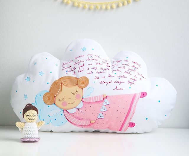 "💕 Hand painted cloud pillow for Eva's 1st Bday  with prayer ""Andjele cuvaru"" 💕 #lescherubins #dominikabozic #lescherubinsbydominika #lescherubinsart #handpaintedpillow #cloudpillow #giftforbaby #nurserydecor #nurserypillow #angelpillow #nurseryinspo #girlsnurserydecor"