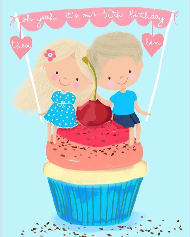 Personalised birthday card 🤗 #digitalillustration #dominikabozic #lescherubins #lescherubinsbydominika #lescherubinsart #personalisedbirthdaycard #personalizedbirthdaygift