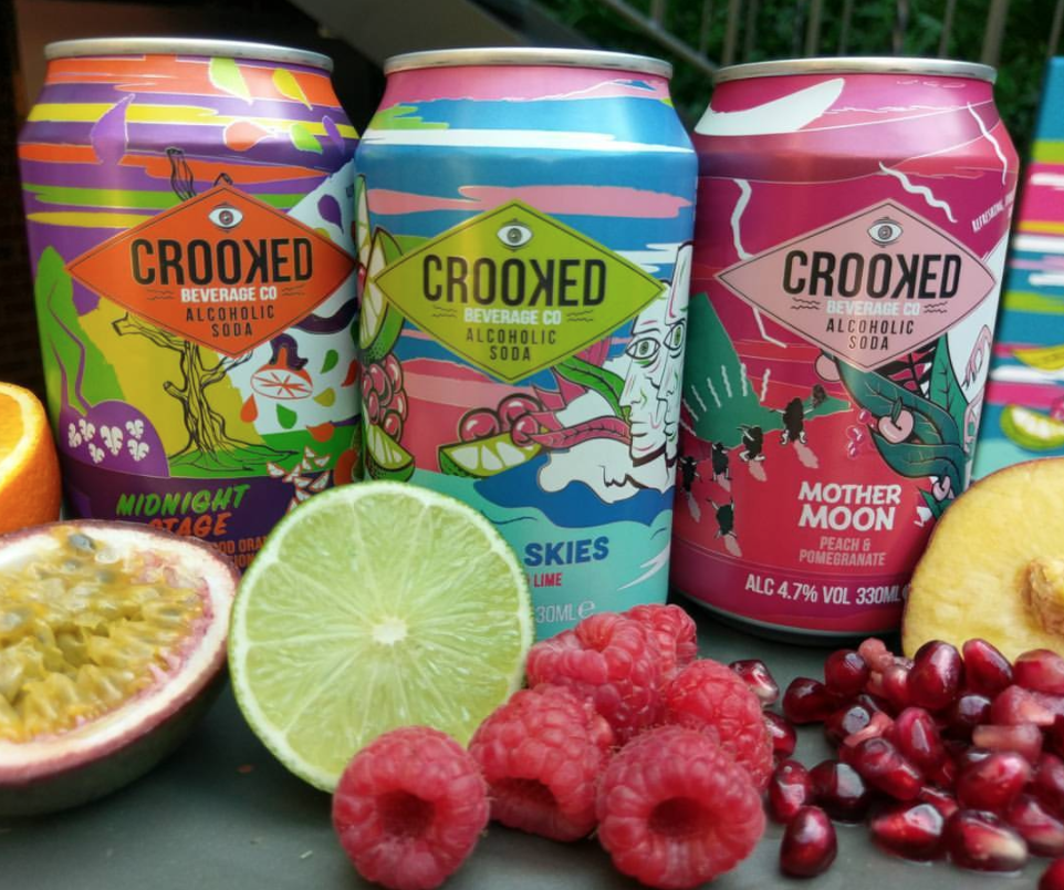 Original artwork brand development for Crooked Beverage Co alcoholic soda range.    'Crooked Beverage Co seeks to take your expectations and turn them on their head. In the shadow of the Crooked Spire we craft natural alcoholic sodas packed full of fruity flavour and just the right amount of sweetness.' -    Crooked Bev Co