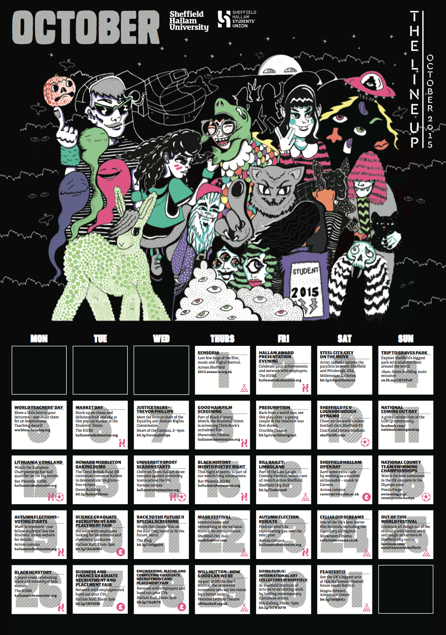 The Line Up - October 2015    O  ctober (featured inner calendar, A3)