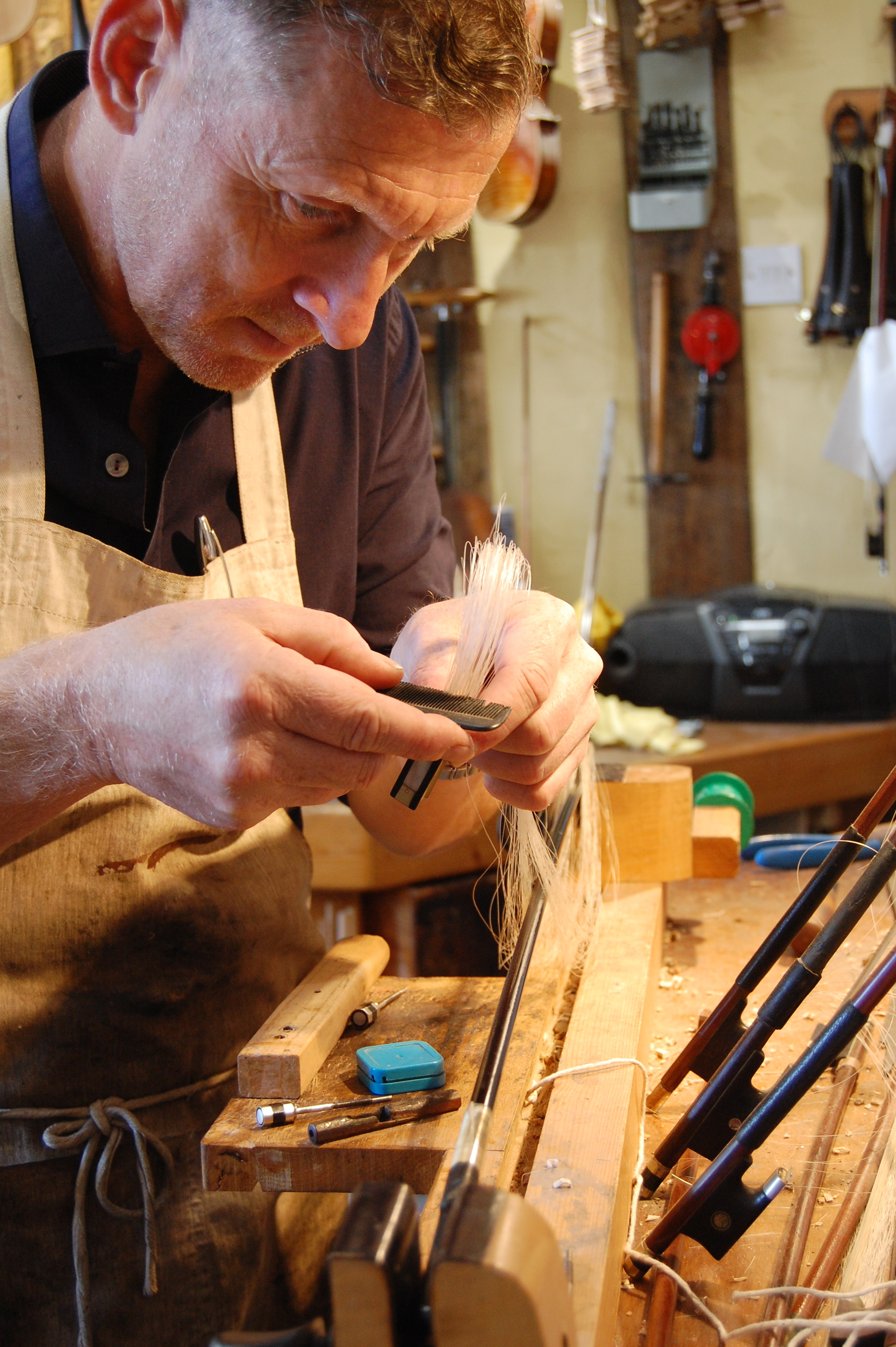 We are often asked how often a bow rehair is needed, this is difficult to answer as it really depends on how often and how much the bow is used. We'd say the player who practises on average half an hour per day should be thinking about getting one rehair each year. Some professionals have a rehair every six weeks!