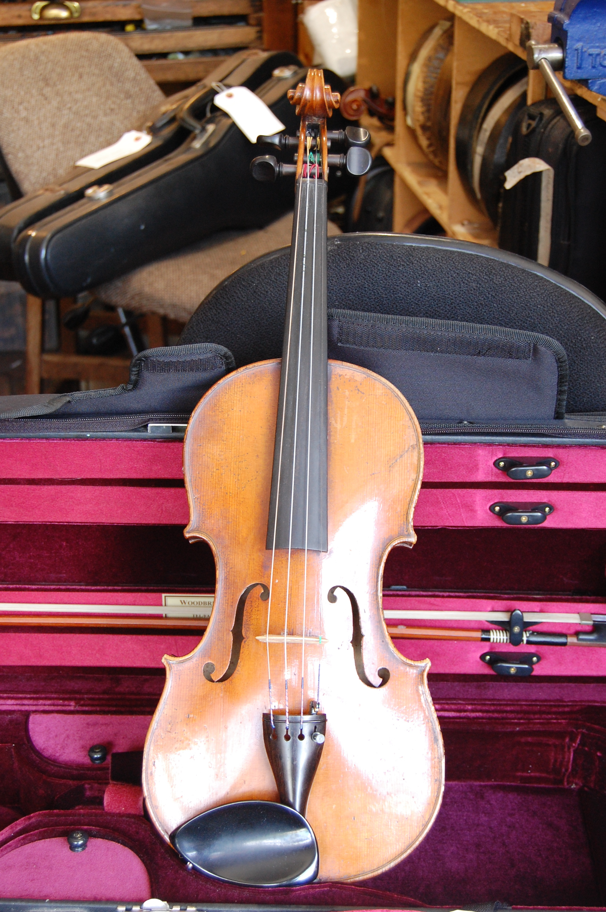 Full size German violin C1860 with case and bow, on sale for £1,000 CS002  Condition: Good  Tone: 5/5  Value for money: 4/5  Overall rating: 4/5