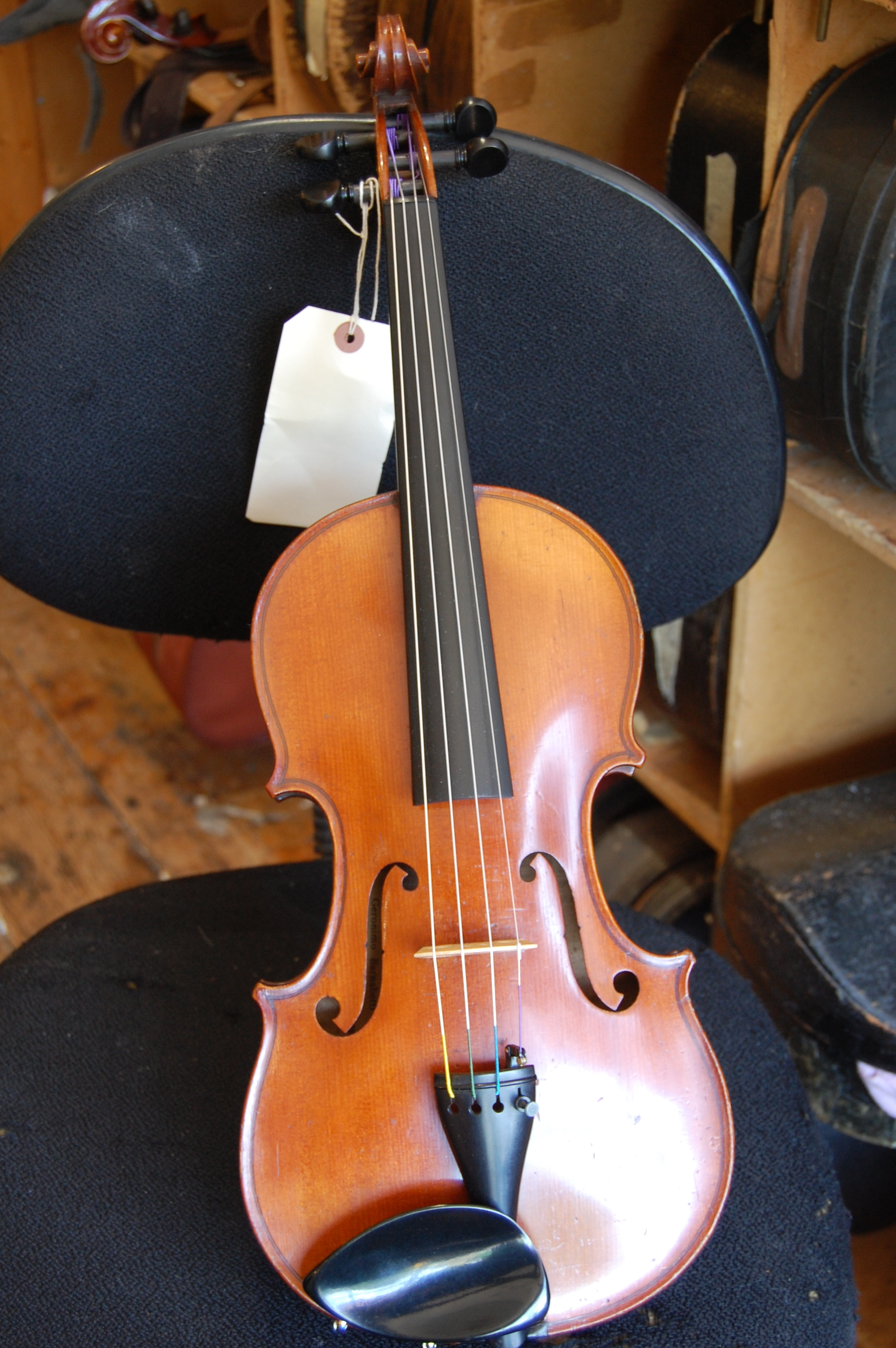 French violin labelled 'JTL, Barnabetti Paris'. Well figured one piece back, front of broad grain. Customer looking for a quick sale, price £2,500 CS009  Condition: Excellent, fully restored  Tone: 5/5  Value for money: 5/5  Overall rating: 5/5