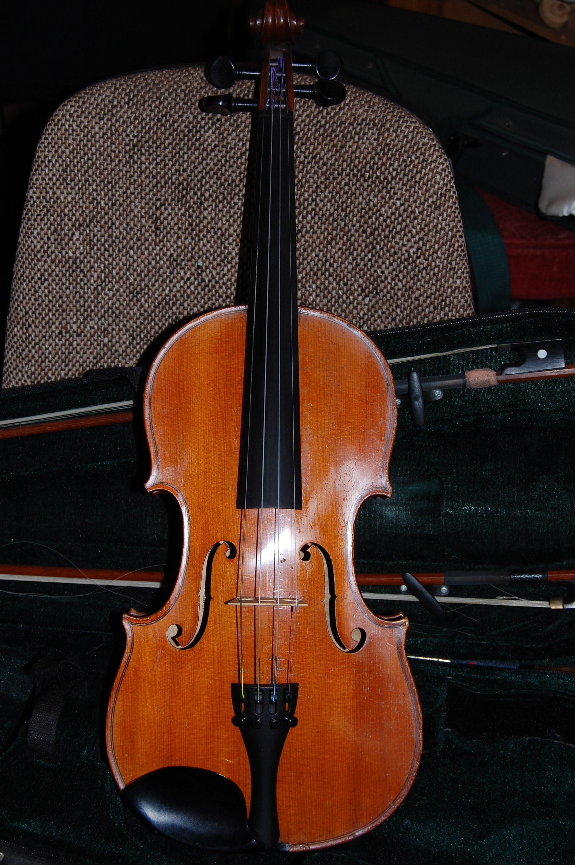 Full size French violin labelled 'J.B.Colin' C1900, two piece back with strong descending figure, well flamed ribs and medium grain. With shaped case and 2 bows £ 3,500 CS010  Condition: Excellent, fully restored  Tone: 5/5  Value for money: 5/5  Overall rating: 5/5