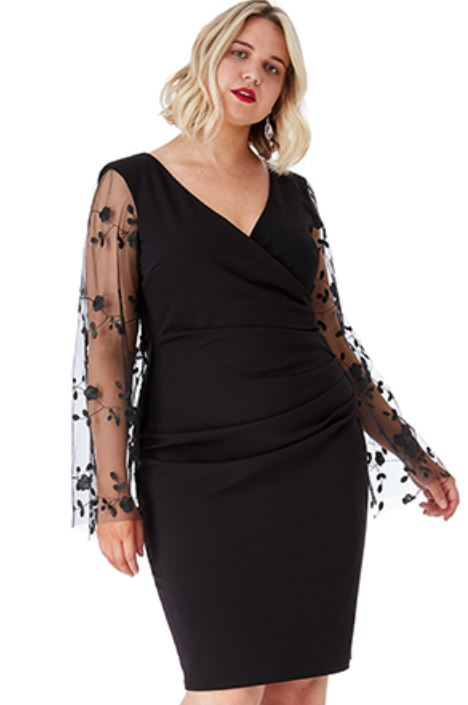 Plus Size Ruched Pleat Midi Dress with Sheer Embroidered Sleeves.JPG