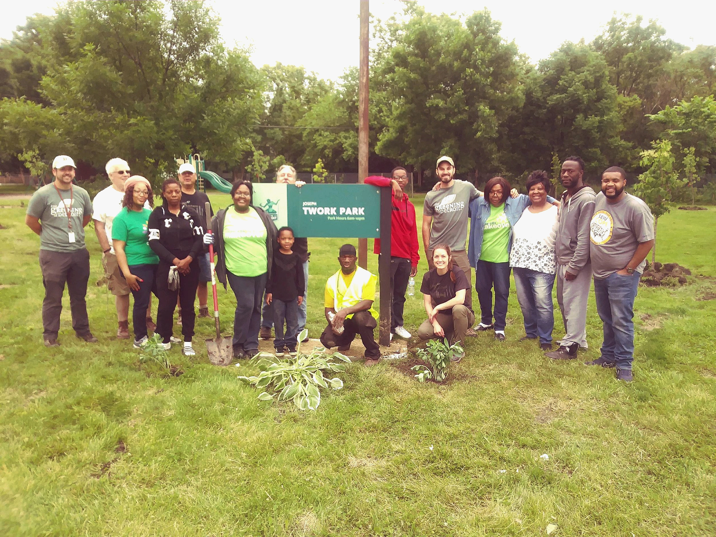 North Central Block Club Association and Citizen Forester volunteers along with The Greening of Detroit program staff and crew members.
