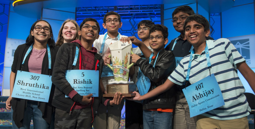 The first time ever, in the history of the national spelling bee, there are EIGHT winners!