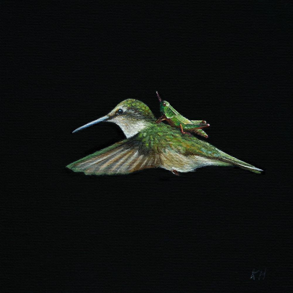 Hummingbird Express | 6.5 x 6.5 | Oil on canvas panel
