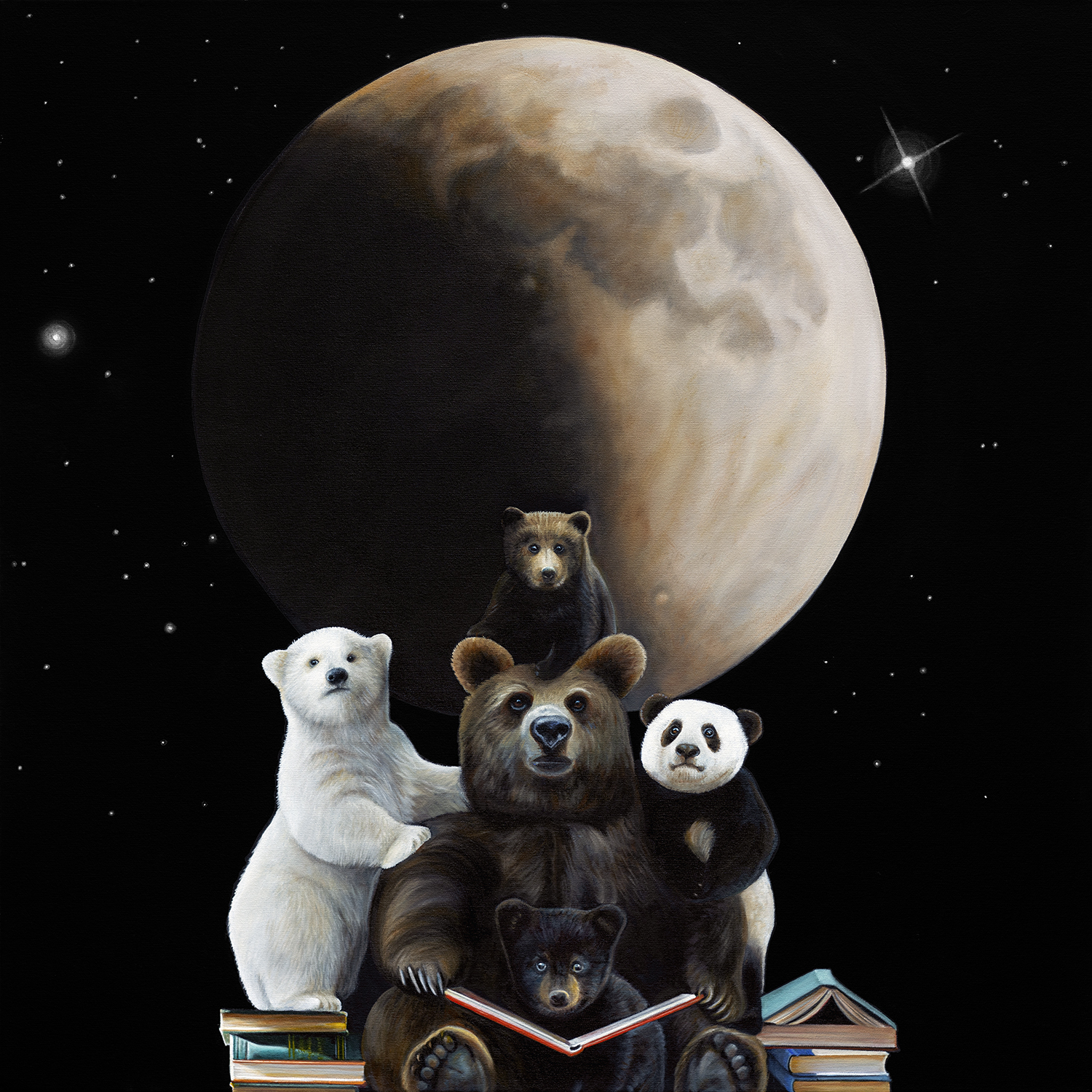 Beartime Stories | 36 x 36 | Oil on canvas