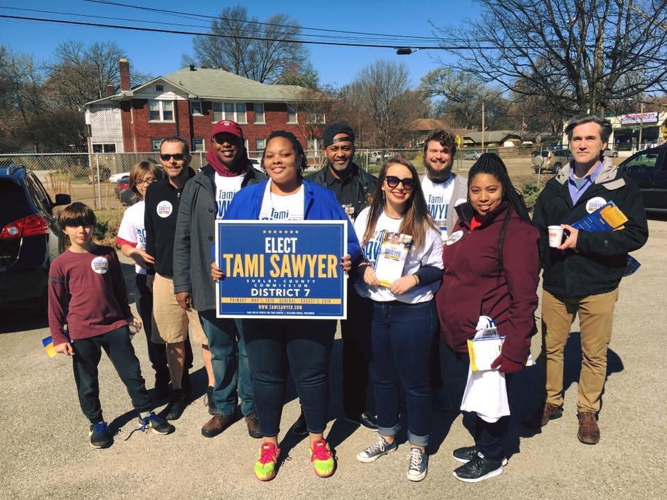 Future901 endorsed candidate Tami Sawyer with volunteers. Check out Future901's endorsed candidates and see how you can help their campaigns!