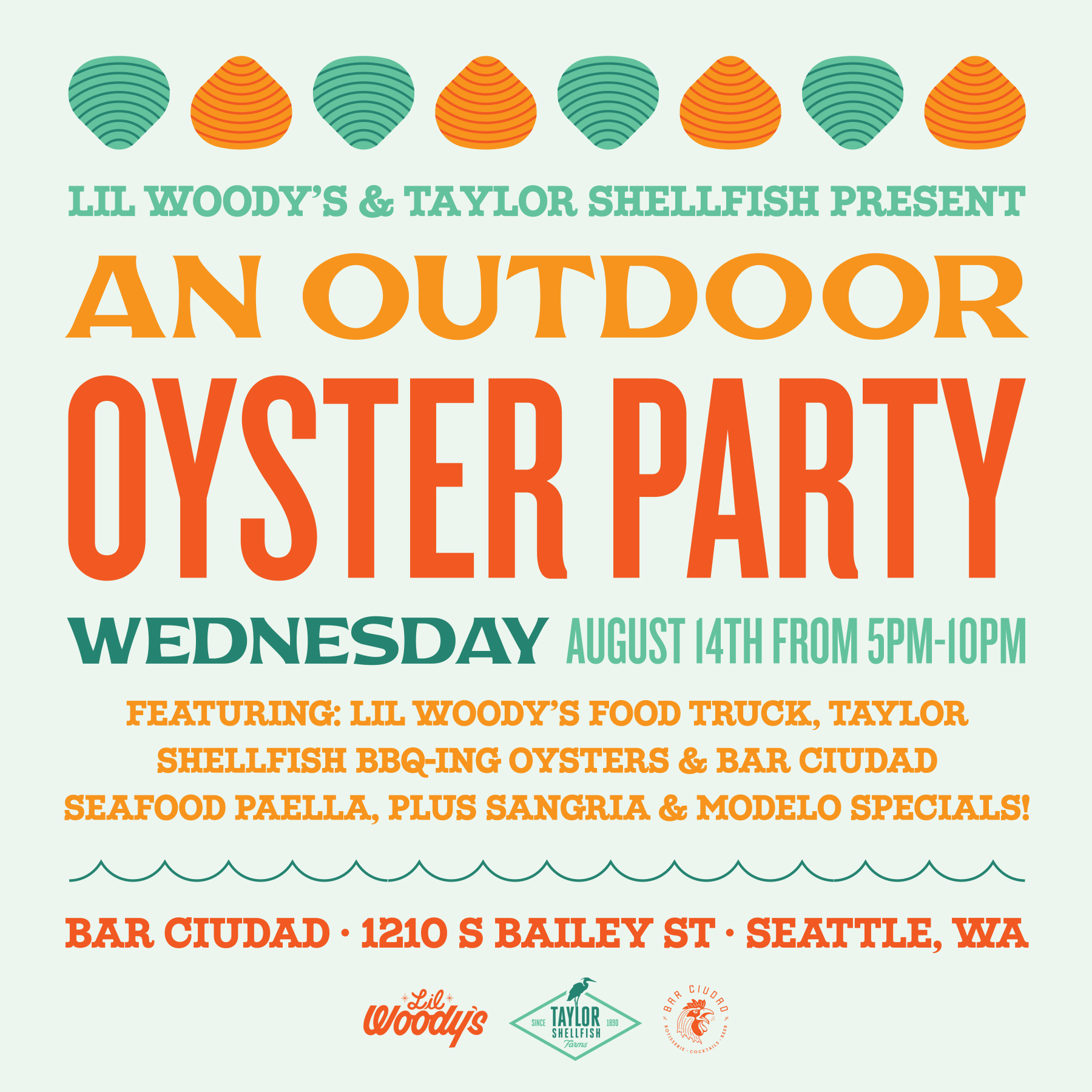 Outdoor Oyster Party - Wednesday, August 14th • 5-10pmEvent Features BBQ Oysters from Taylor Shellfish, Burgers from Lil Woody'sFood Truck, and Seafood Paella off the grill from Chef Joe Bayley.