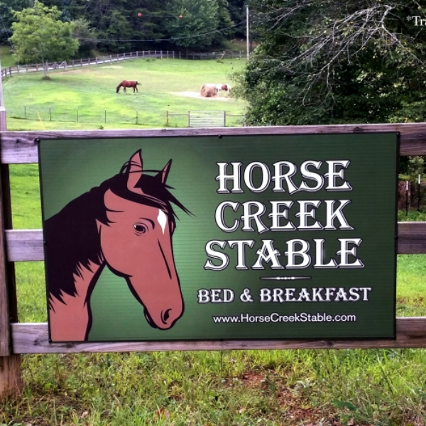 Horse Creek Stable B&B  - Blue Ridge B&B rescue Animal Sanctuary nestled on 36 secluded acres.  This is the perfect singles getaway or couples retreat, just a few minutes away from Blue Ridge, GA.  Children are always welcome. Because our animals are rescues we don't offer horseback riding.
