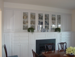 Omega Custom & Dynasty Fireplace Surround w/Built-ins - Wellington/Lexington door style - Maple wood - Pure White Opaque Finish