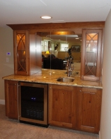 Omega Dynasty Wet Bar - Danville door style - Rustic Pecan wood - Sage stain - Yellow River granite