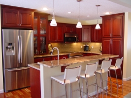 Omega Dynasty - Wellington Arch - Cherry wood - Burgundy stain -Crema Bordeaux granite