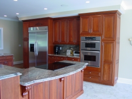 Omega Dynasty & Omega Custom - Mandalay & Melbourne door styles - Cherry wood - Manderin stain - Coffee glaze - Granite