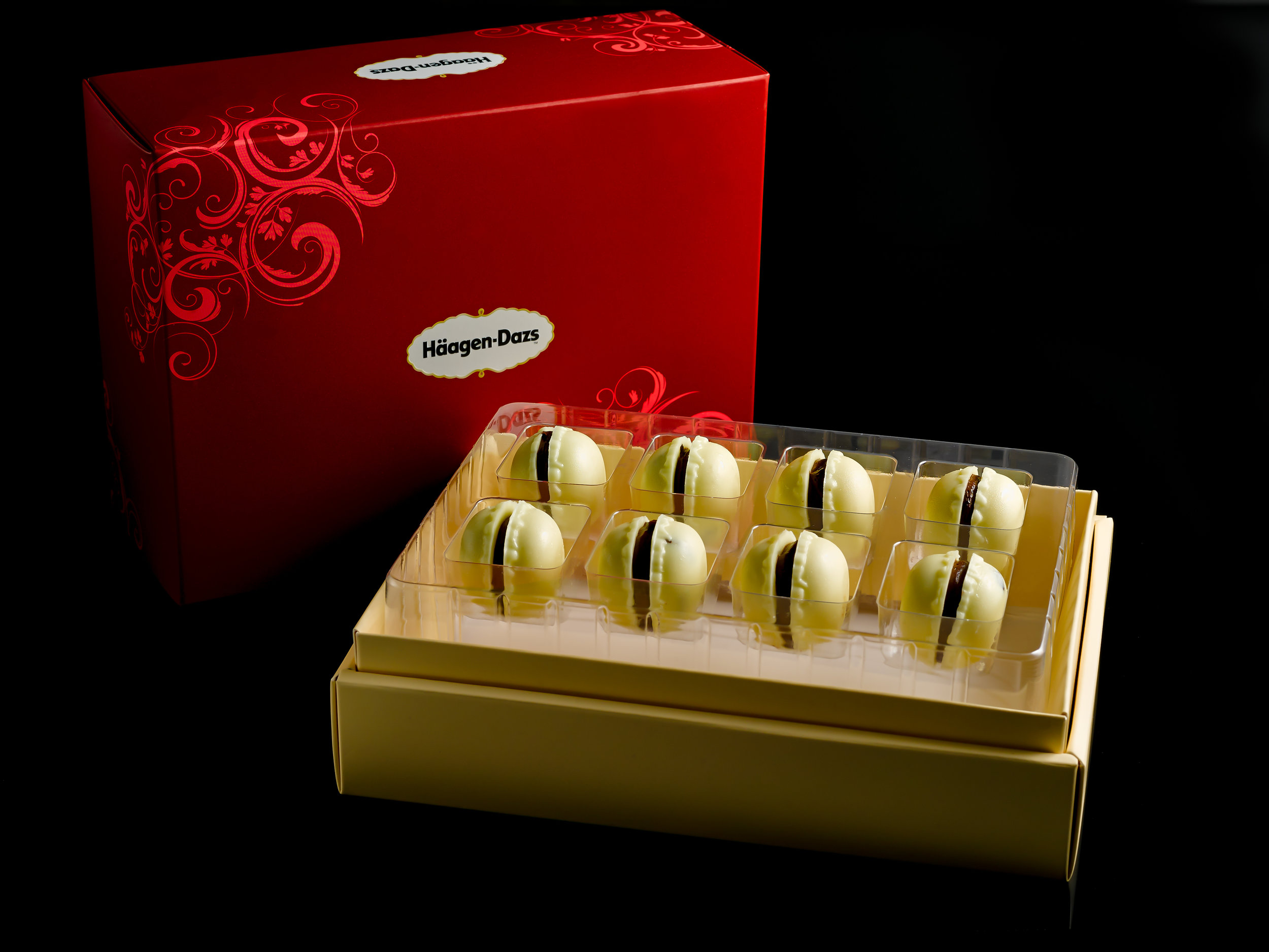 Marc de Champagne Truffle macarons were created specially for this outlet