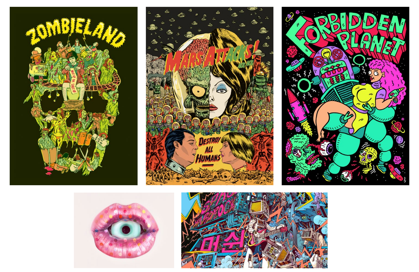 Artworks by (Clockwise from top left) Mightyellow, Russell Ong, Russell Taysom, Mr Misang, Kittozutto