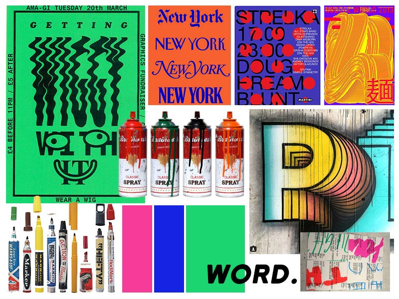 - The show needed to make a statement (quite literally). We drew inspo from some big, bold and bright work that was out in the world already. Our designer played around with the typography of the show 2name and added a spray can and a marker to further personify the diverse mediums and writing tools the artists worked with.