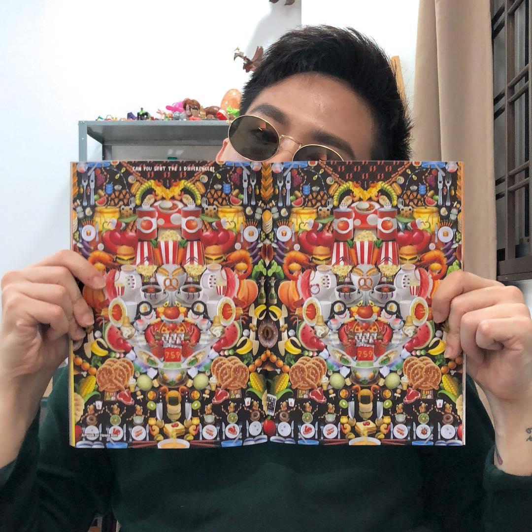 Howie Kim with his Emoji-based digital artwork.