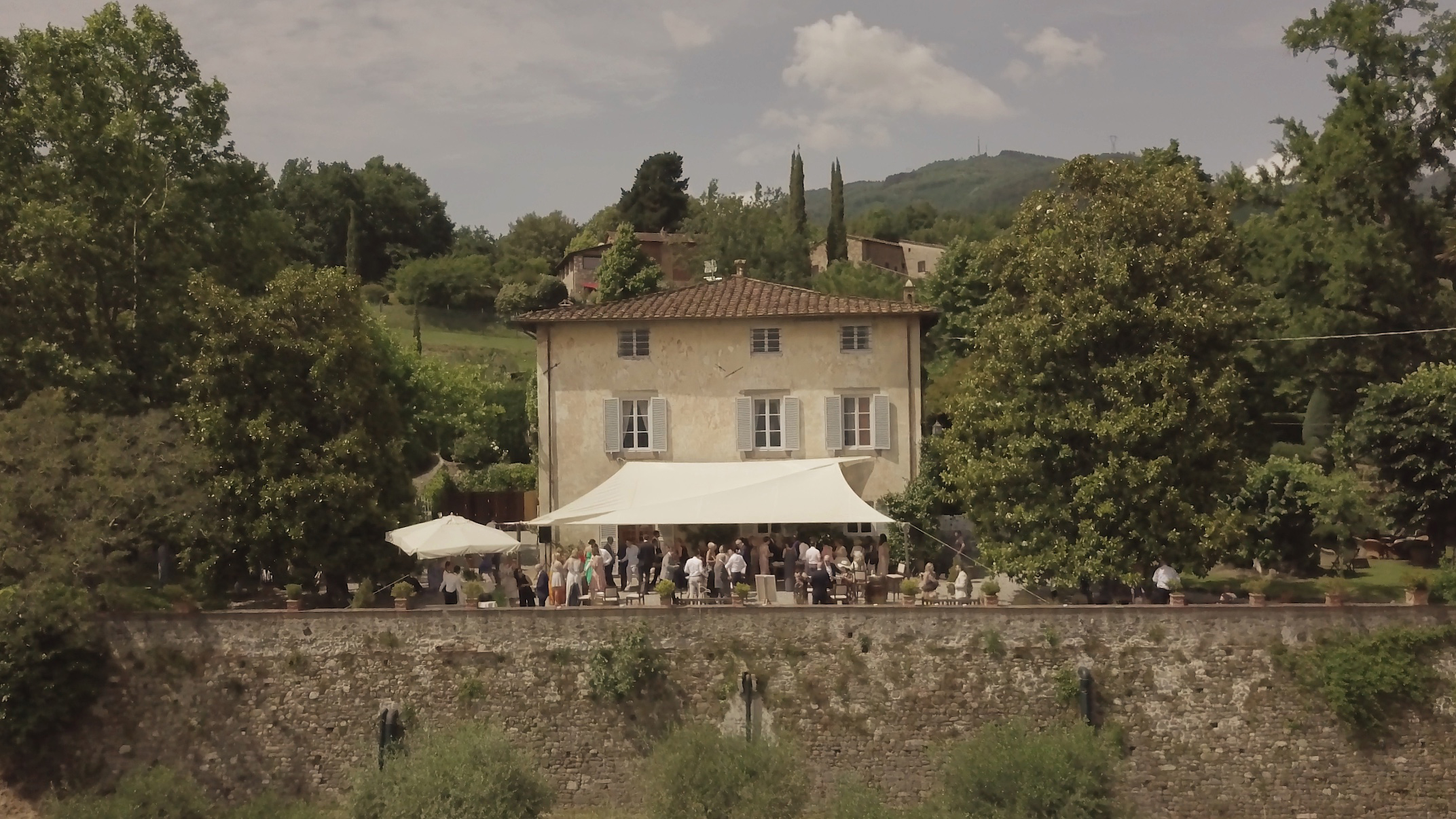 Drone footage from the wedding film at Fattoria Mansi Bernardini.