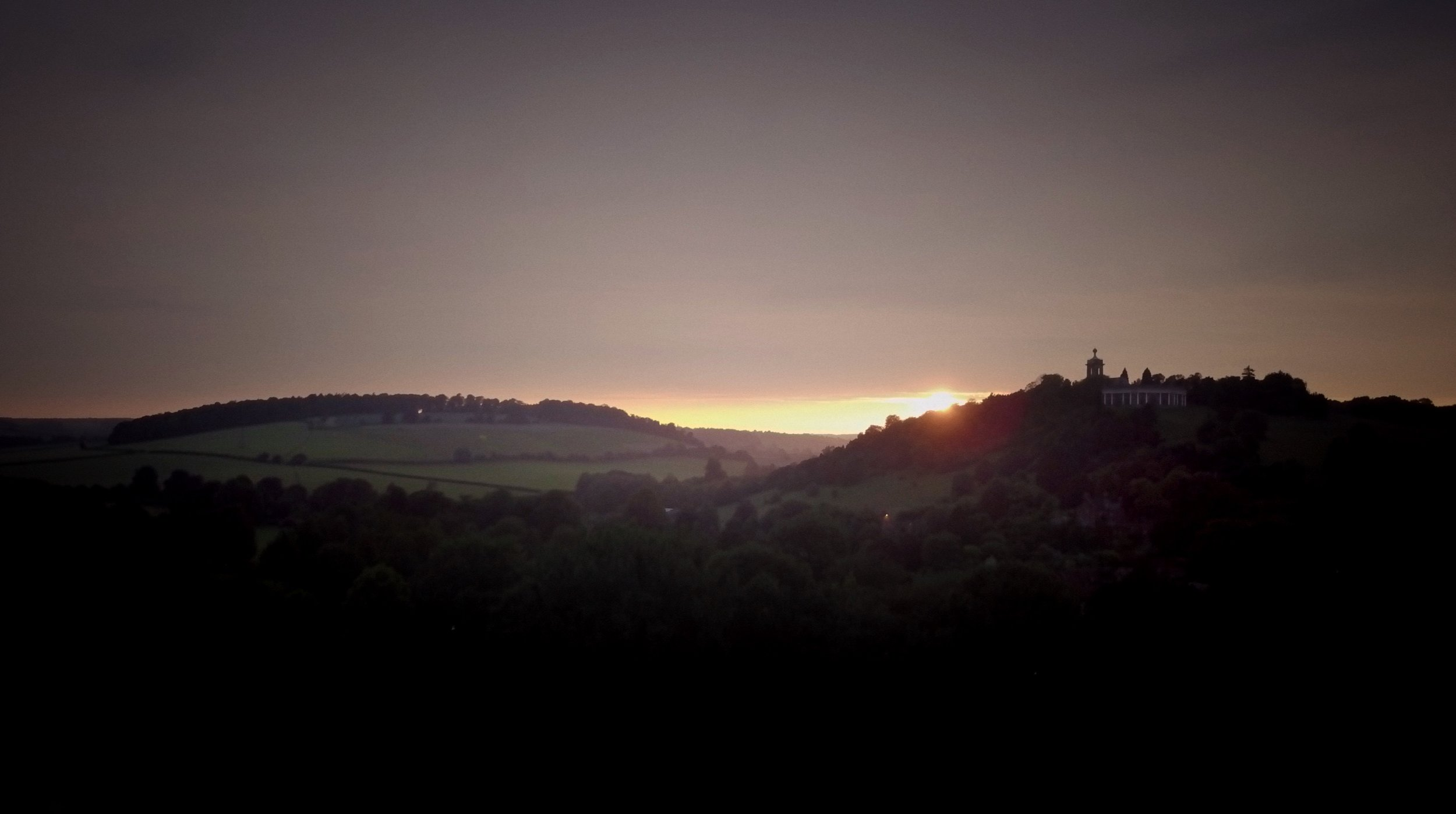 Wedding film final scene - sun set's over couple's wedding at West Wycombe Park