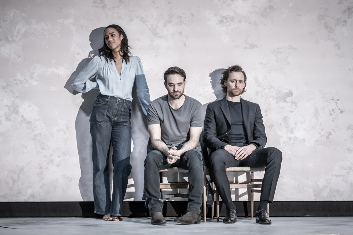 Zawe Ashton (Emma), Charlie Cox (Jerry) and Tom Hiddleston (Robert) in 'Betrayal' directed by Jamie Lloyd.  Photo credit Marc Brenner.jpg