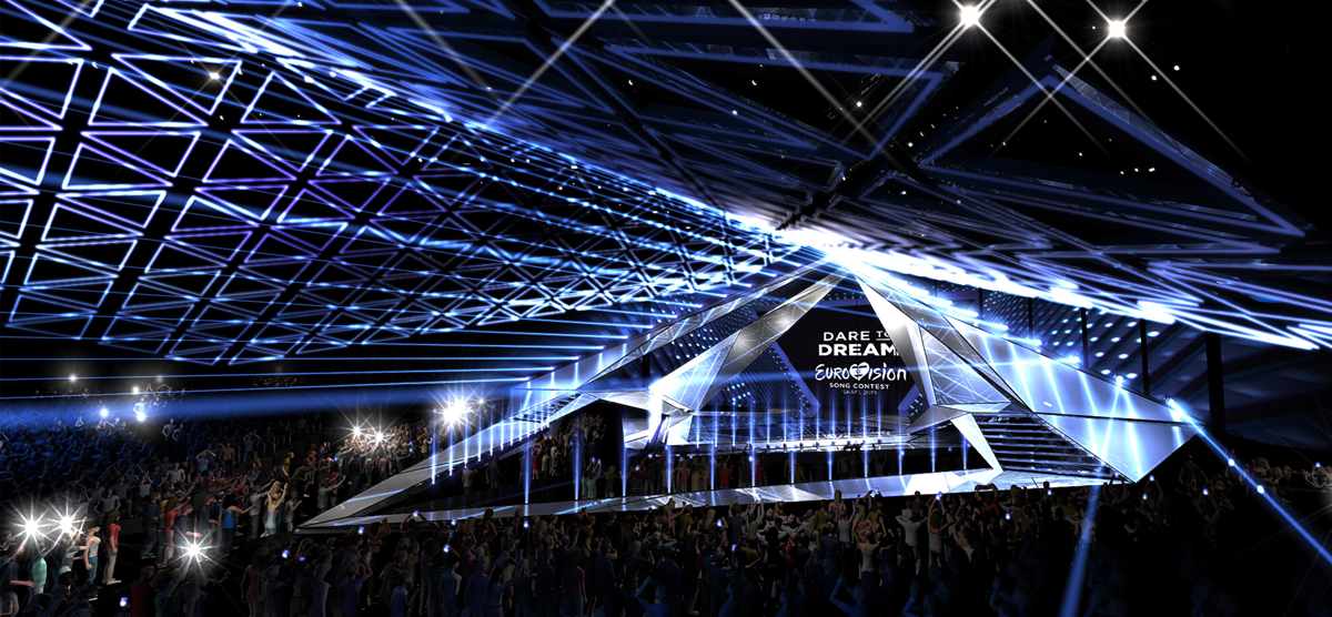 Rendering of the Eurovision 2019 stage at Expo Tel Aviv © KAN